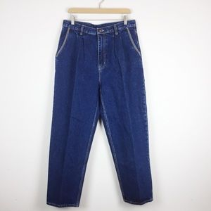 Vintage high waisted mom jeans dark wash flap